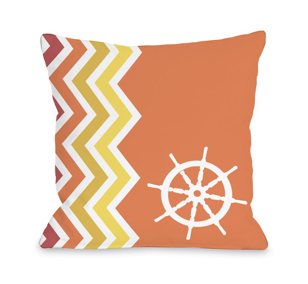 Chevron Wheel - Orange Throw Pillow by OBC