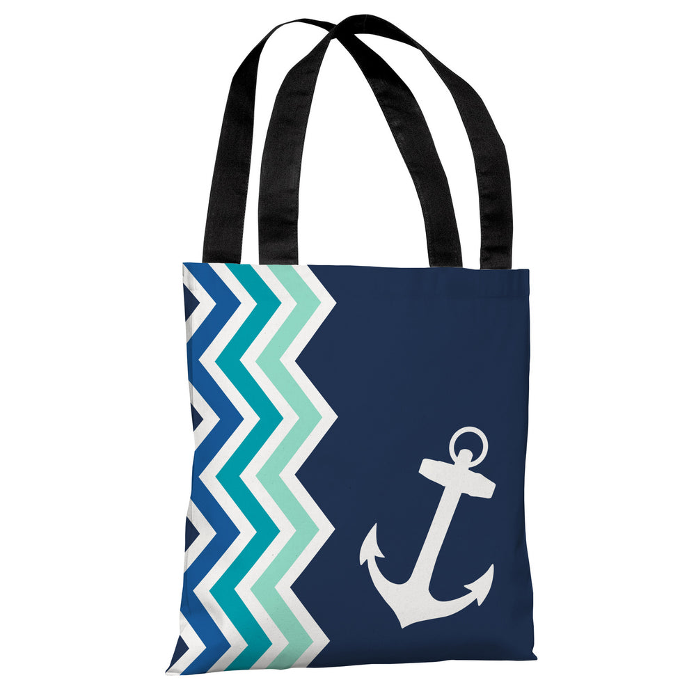 Chevron Anchor - Blue Tote Bag by OBC