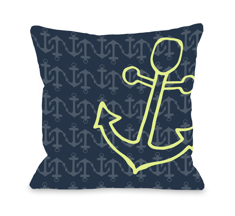 Kaia Anchor's Away - Navy Green Throw Pillow by OBC