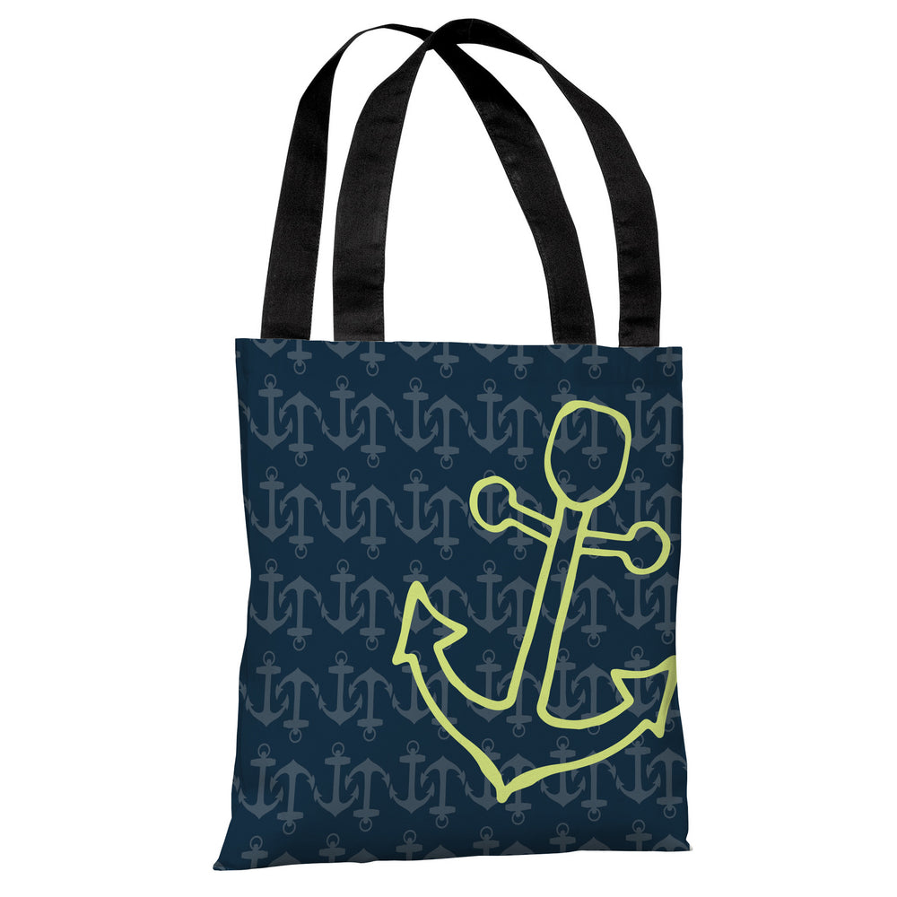Kaia Anchor's Away - Navy Green Tote Bag by OBC