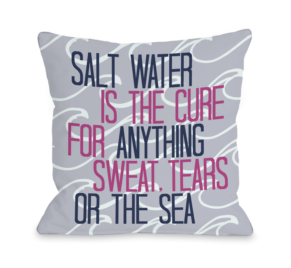 Salt Water Cure Waves - Blue Pink Throw Pillow by OBC