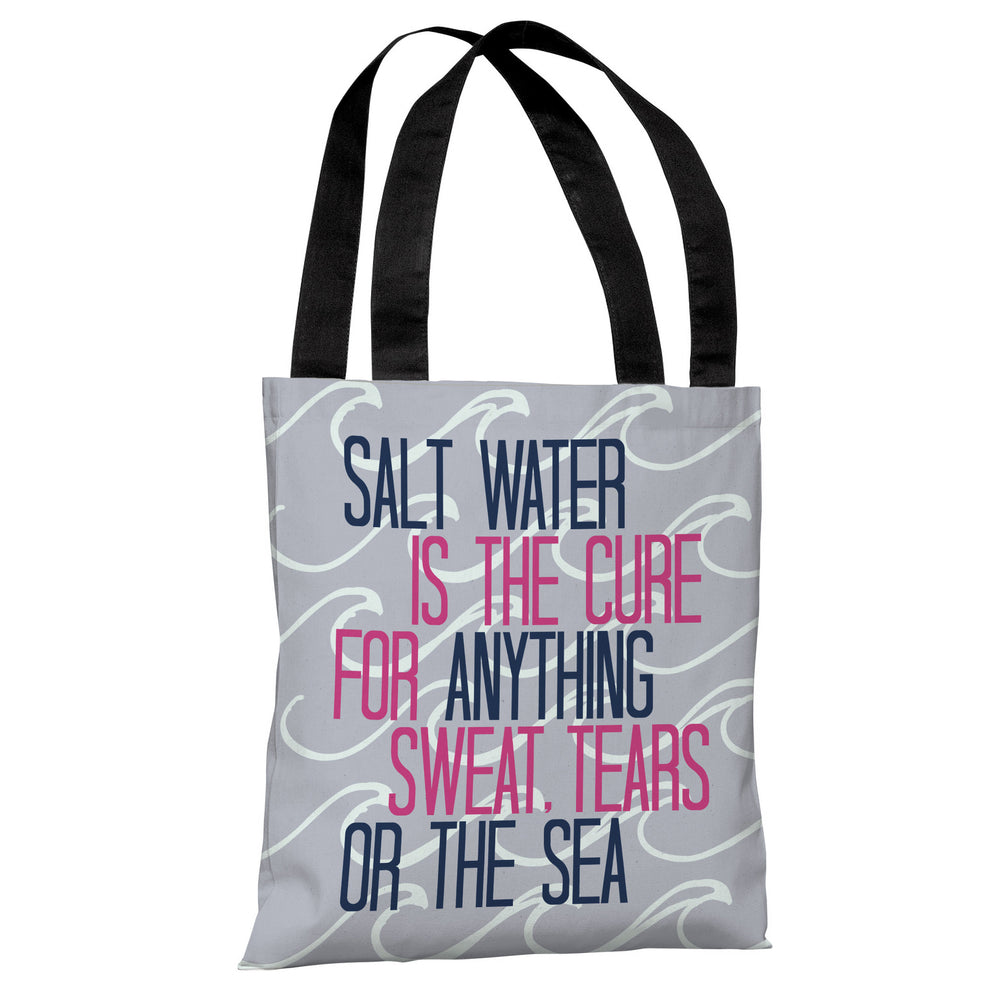 Salt Water Cure Waves - Blue Pink Tote Bag by OBC