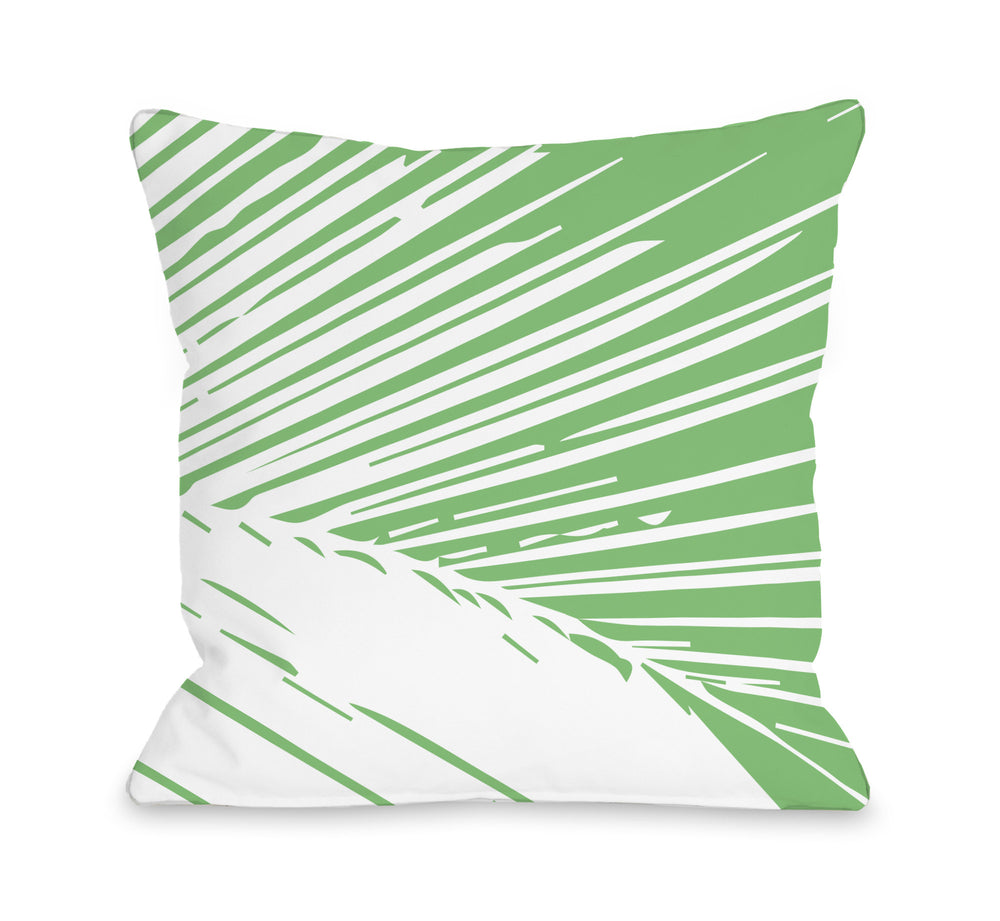 Alaiya Palm Leaves - Green Throw Pillow by OBC