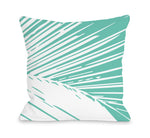 Alaiya Palm Leaves - Turquoise Throw Pillow by OBC