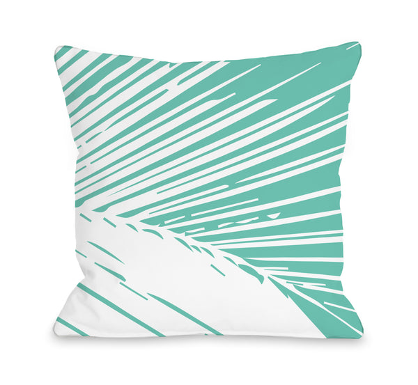 Alaiya Palm Leaves - Turquoise Outdoor Throw Pillow by OneBellaCasa.com