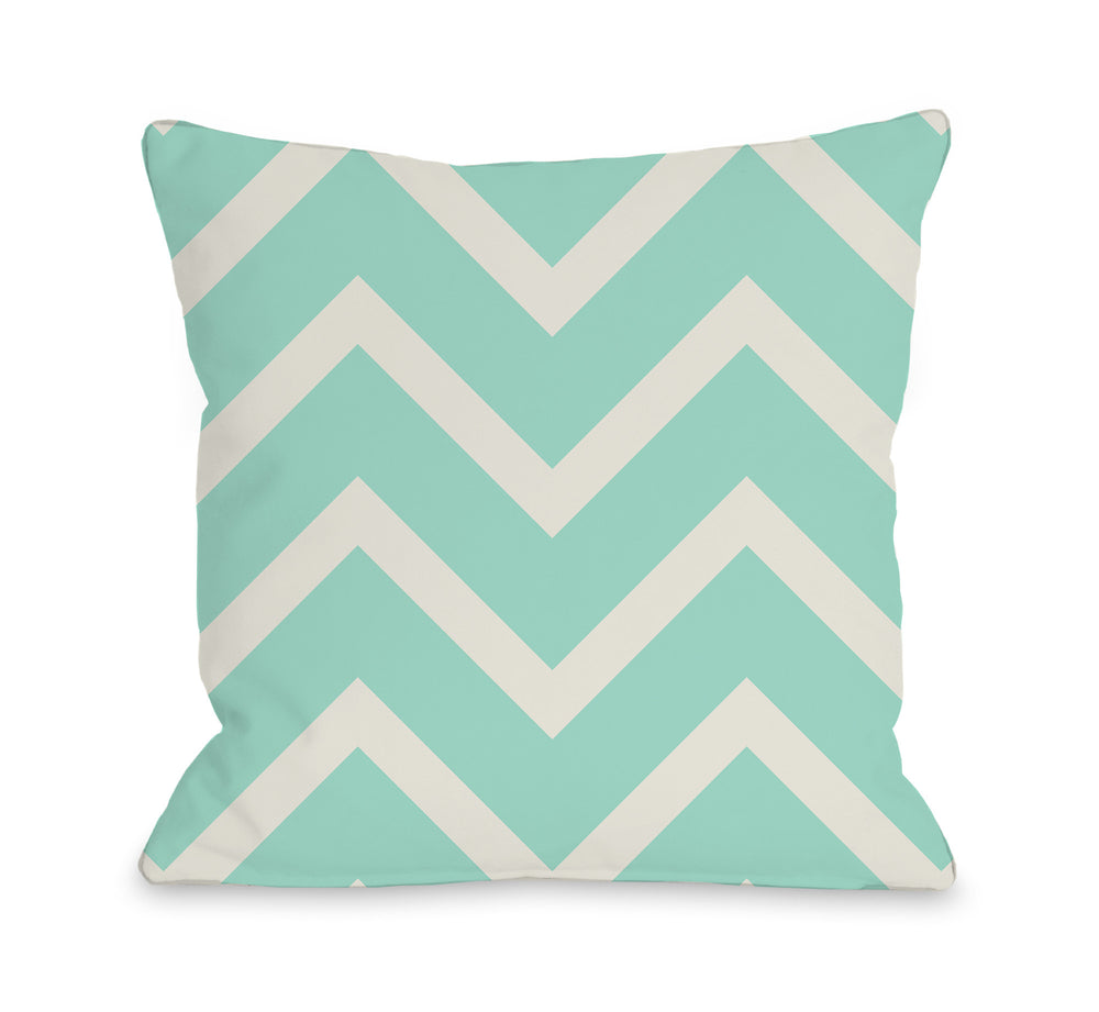 Sophia Chevron - Turquoise Ivory Outdoor Throw Pillow by OBC