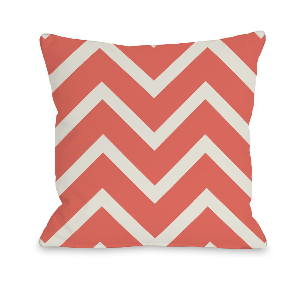 Sophia Chevron - Coral Ivory Outdoor Throw Pillow by OBC