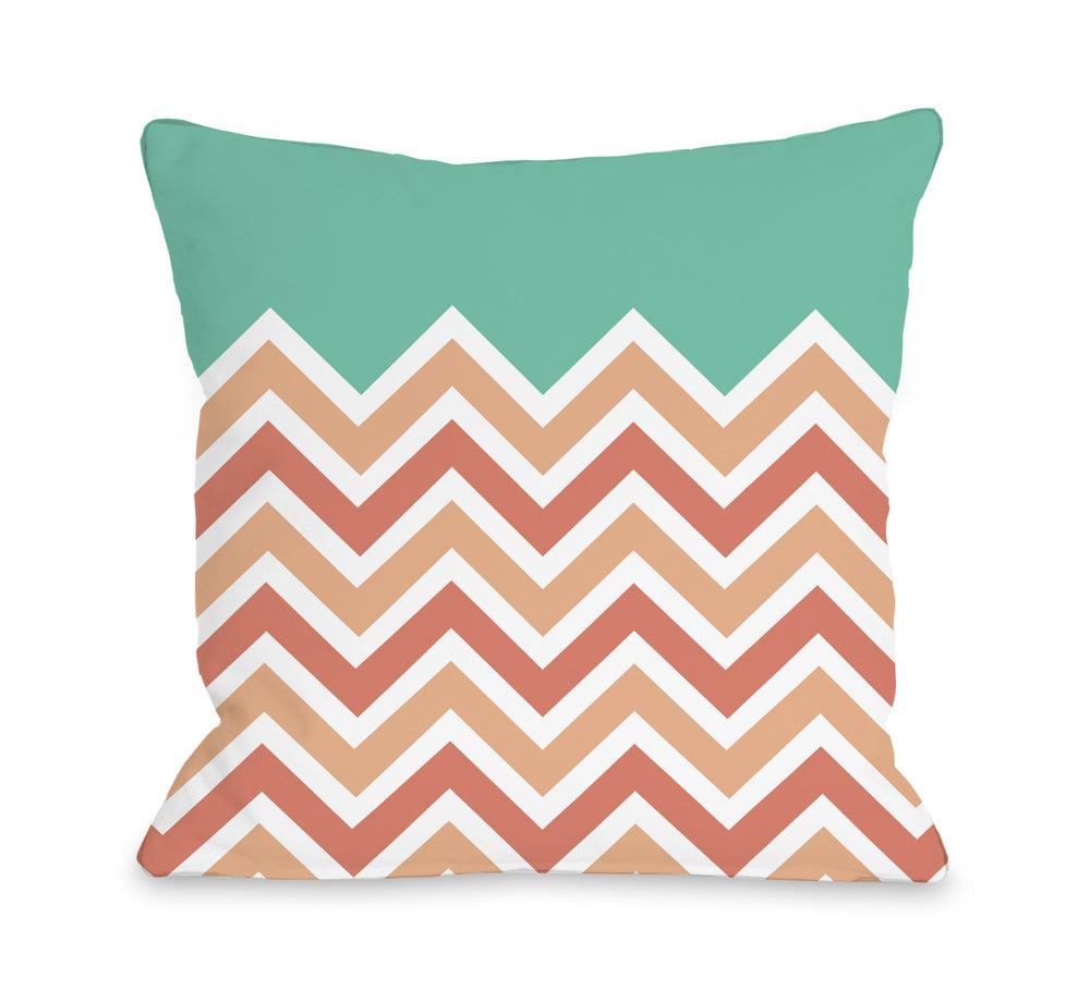 Chevron Solid - Melon Cantaloupe Outdoor Throw Pillow by OBC