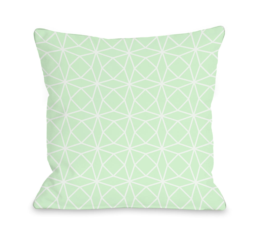 Brianna Geo - Mint White Outdoor Throw Pillow by OBC