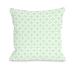 Dahlia Moroccan - Mint White Outdoor Throw Pillow by OBC