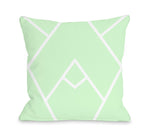 Mountain Peak - Mint White Outdoor Throw Pillow by OBC