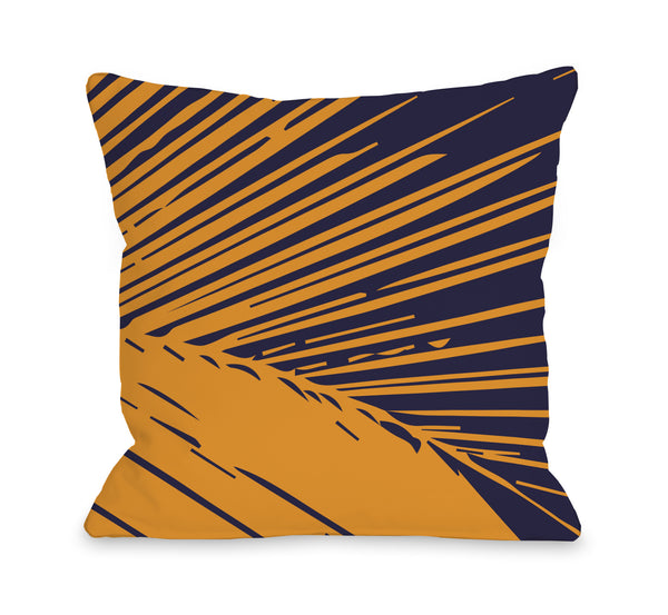 Alaiya Palm Leave - Navy Orange Outdoor Throw Pillow by OneBellaCasa.com