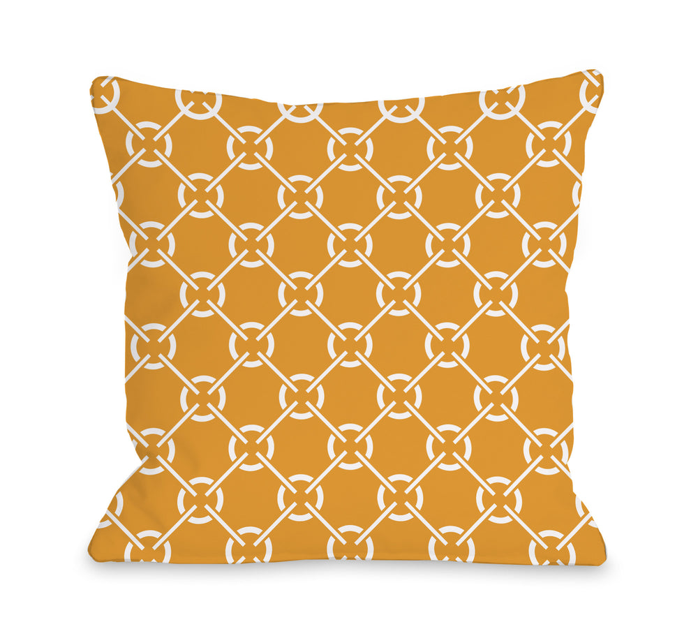 Cecile Circles - Orange Outdoor Throw Pillow by OBC