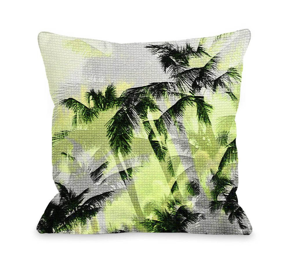 Palm Tree Tile Texture - Yellow Black Throw Pillow by OBC