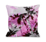 Palm Tree Tile Texture - Pink Black Throw Pillow by OBC