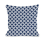 Dahlia Moroccan - Navy White Outdoor Throw Pillow by OBC