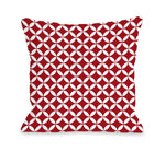 Dahlia Moroccan - Red White Outdoor Throw Pillow by OBC