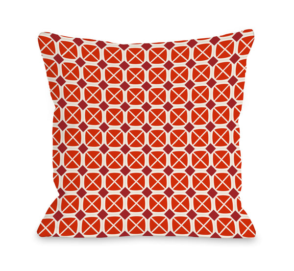 Abegayle Geo - Red Outdoor Throw Pillow by OneBellaCasa.com