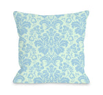 Altair Fleur - Light Green Blue Outdoor Throw Pillow by OBC