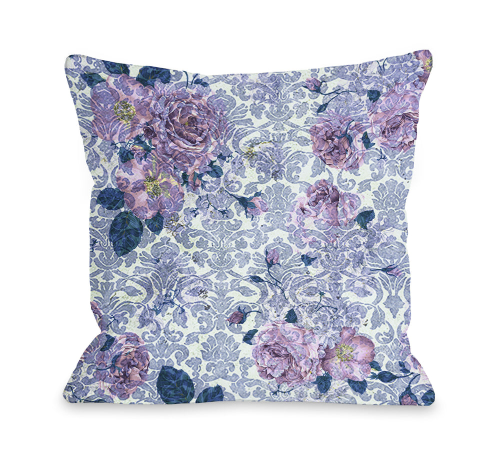 Aria Demask Florals - Blue Outdoor Throw Pillow by OBC