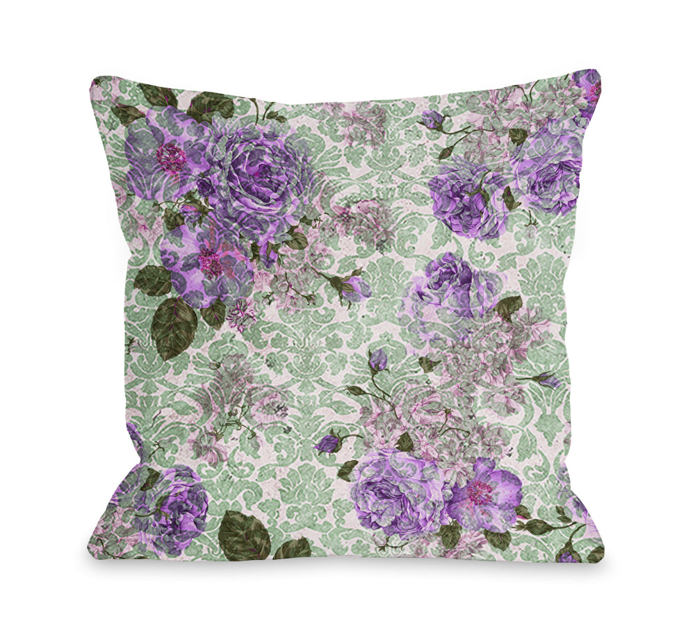 Aria Demask Florals - Green Outdoor Throw Pillow by OBC