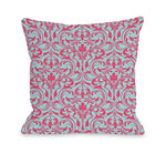 Athena Florals - Light Blue Chartreuse Outdoor Throw Pillow by OBC