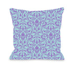 Athena Florals - Light Blue Purple Outdoor Throw Pillow by OBC