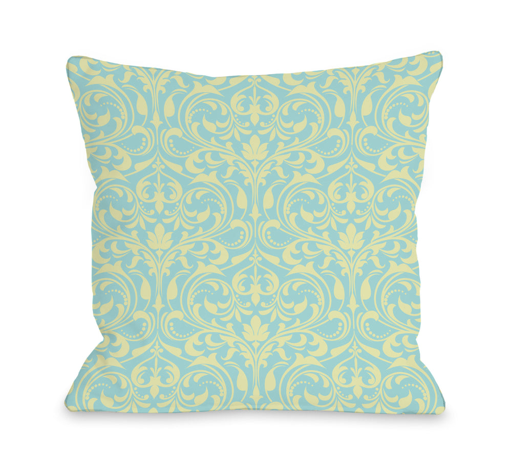 Athena Florals - Light Blue Pink Outdoor Throw Pillow by OBC