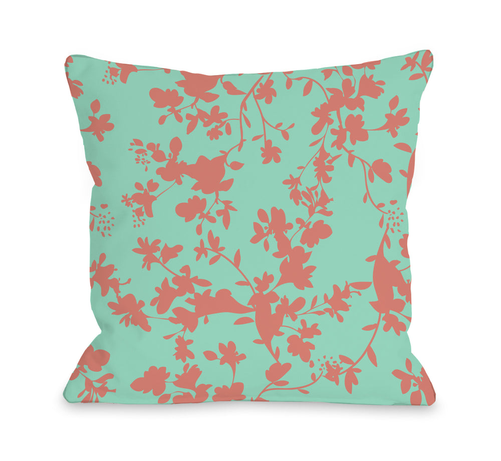 Penelope Florals - Turquoise Coral Outdoor Throw Pillow by OBC