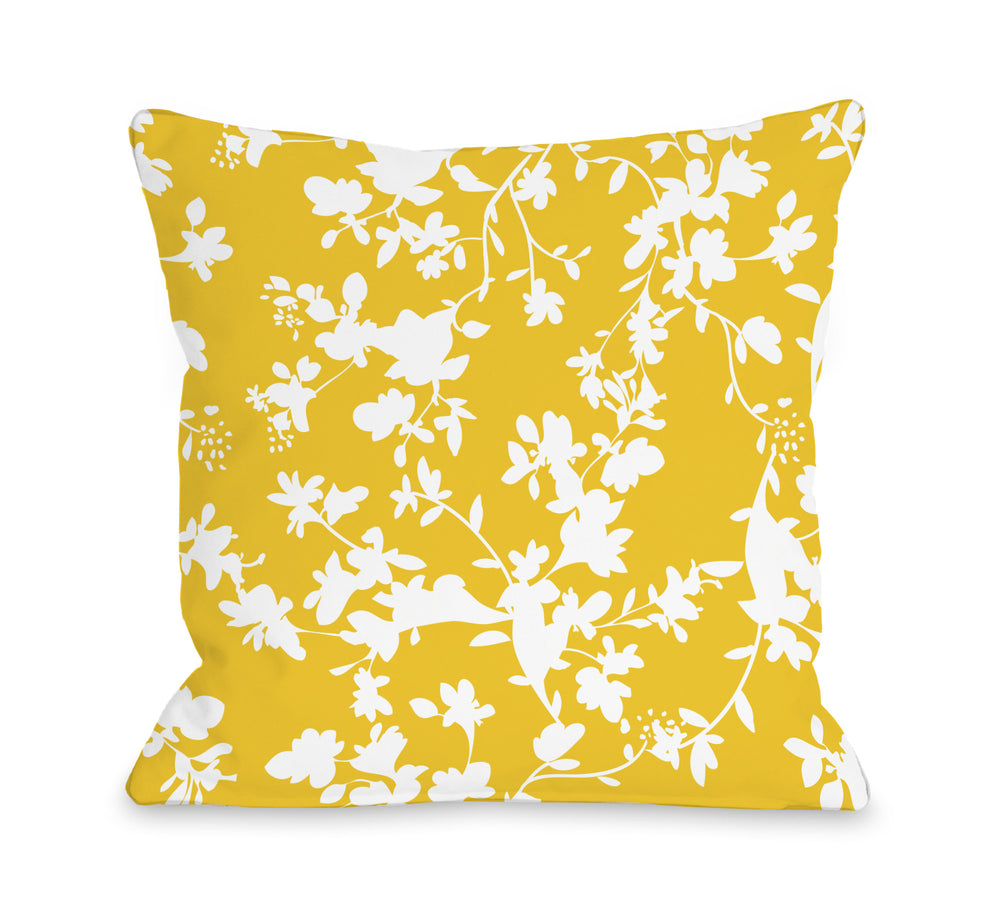 Penelope Florals - Yellow Outdoor Throw Pillow by OBC