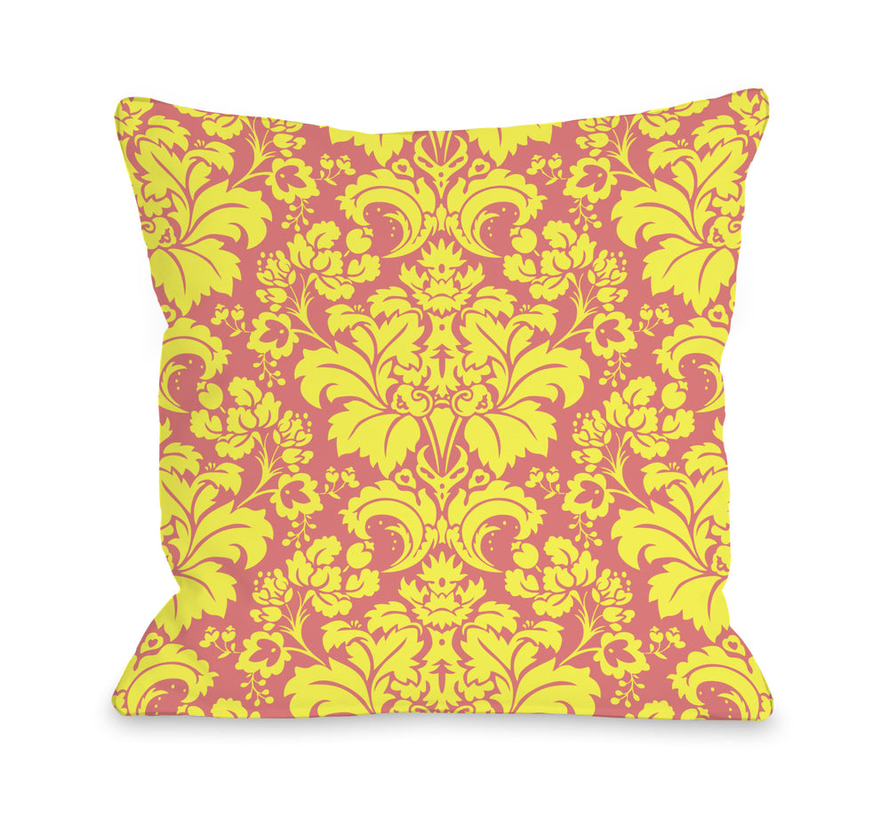 Altair Fleur - Pink Yellow Outdoor Throw Pillow by OBC
