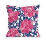 Exotic Flowers - Blue Multi Outdoor Throw Pillow by OBC