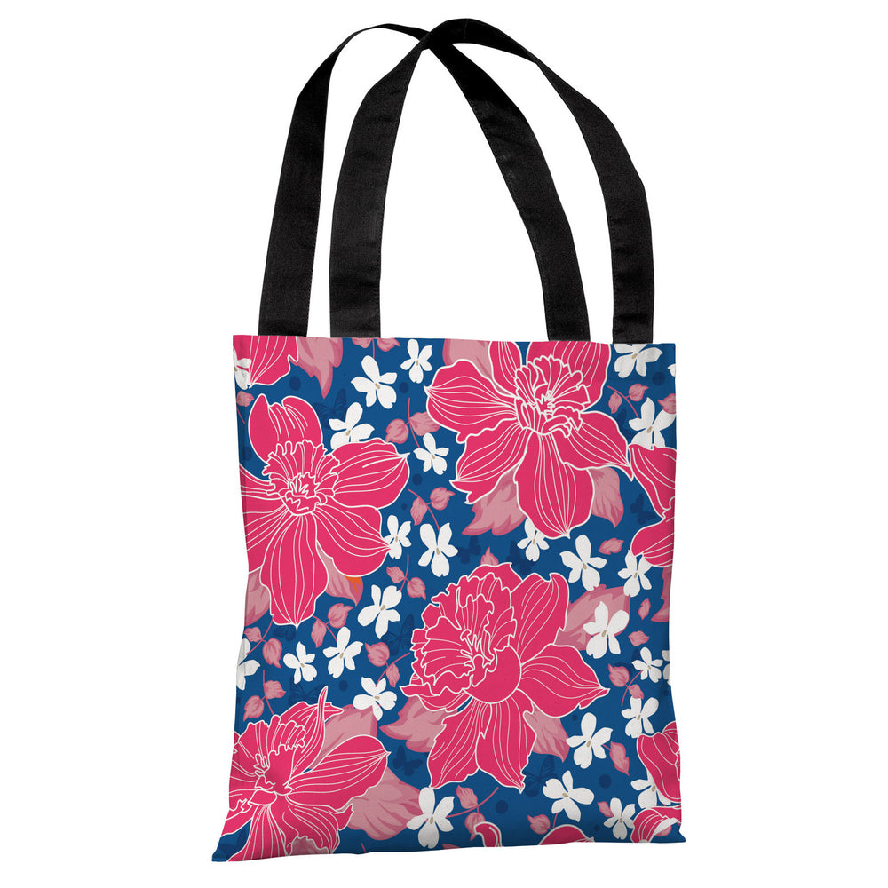 Exotic Flowers - Blue Multi Tote Bag by OBC