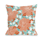 Exotic Flowers - Turquoise Coral Outdoor Throw Pillow by OBC