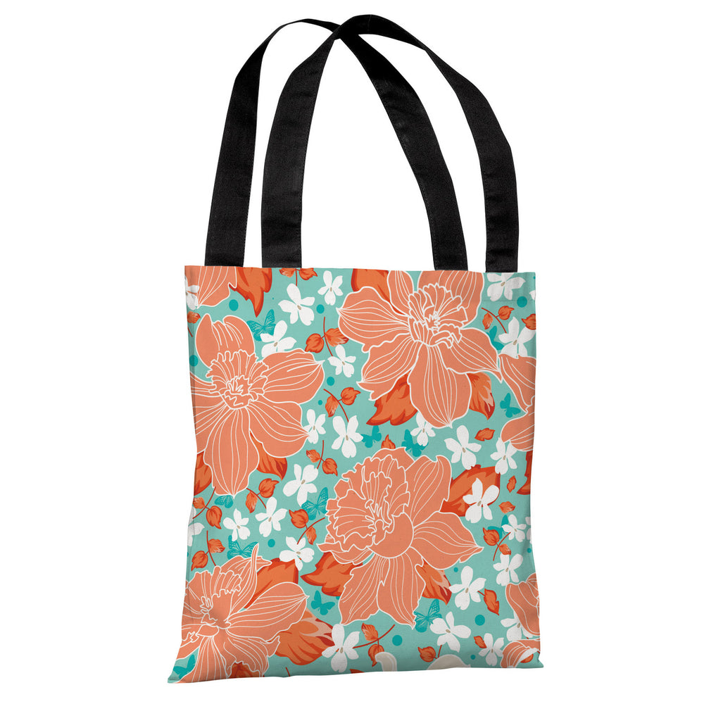 Exotic Flowers - Turquoise Coral Tote Bag by OBC
