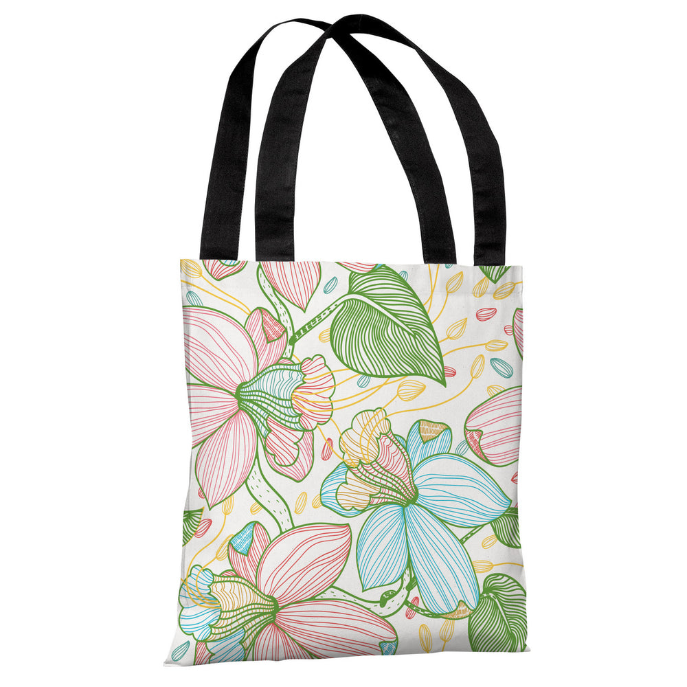 Floral Playhouse - White Multi Tote Bag by OBC