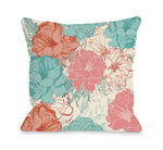 Natalie's Blooms - Cream Multi Outdoor Throw Pillow by OBC