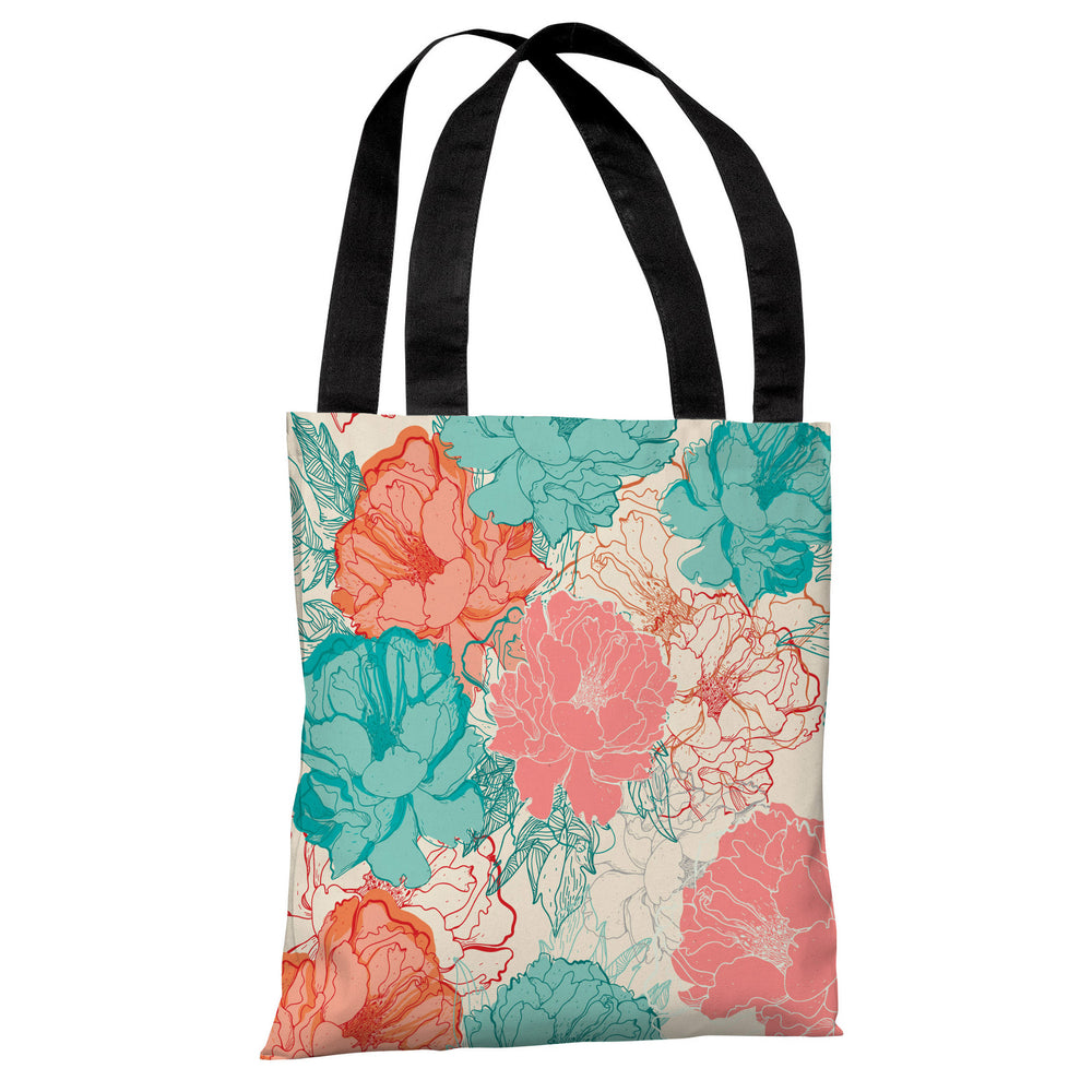 Natalie's Blooms - Cream Multi Tote Bag by OBC
