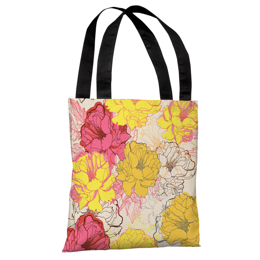 Natalie's Blooms - Yellow Multi Tote Bag by OBC