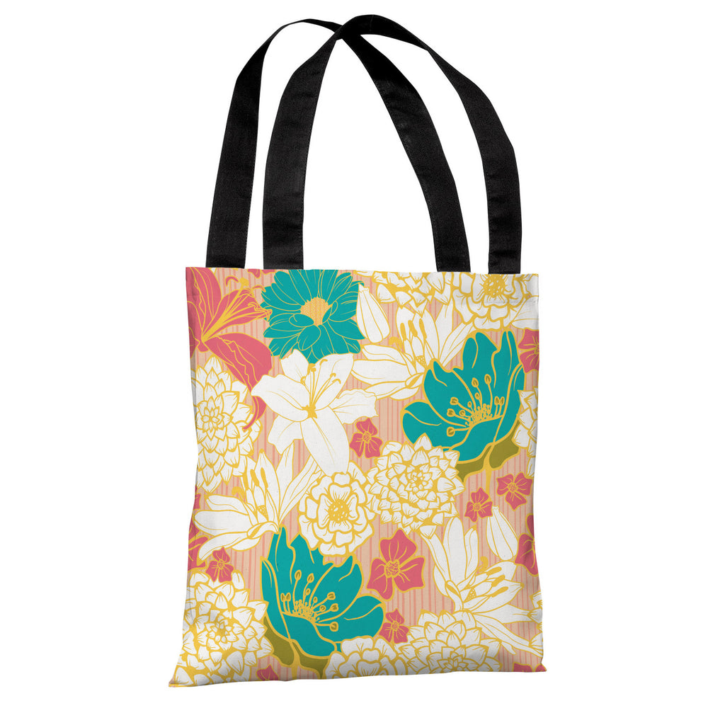 Ornate Florals - Coral Multi Tote Bag by OBC