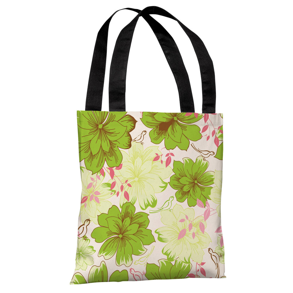 Windswept Flowers - Tan Green Multi Tote Bag by OBC