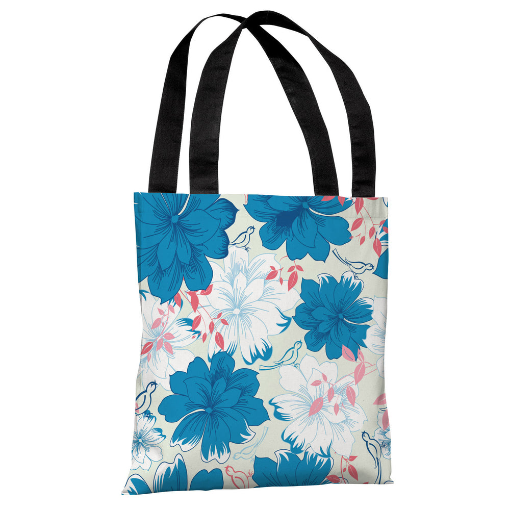 Windswept Flowers - Pale Green Blue Multi Tote Bag by OBC