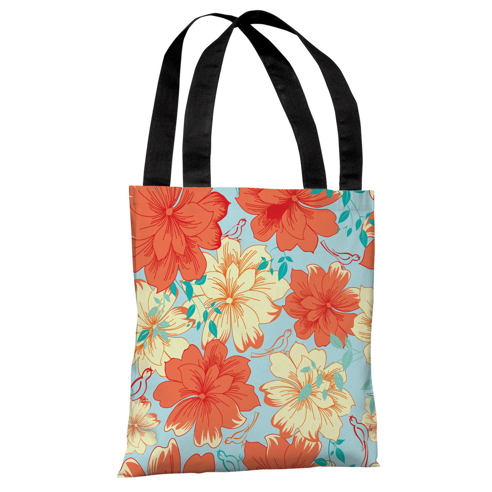 Windswept Flowers - Turquoise Multi Tote Bag by OBC