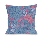 Abundant Florals - Blue Pink Outdoor Throw Pillow by OBC