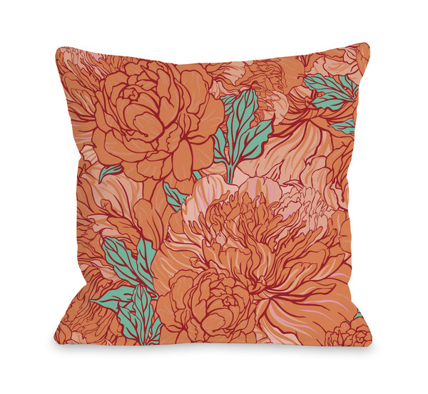 Abundant Florals - Coral Turquoise Outdoor Throw Pillow by OneBellaCasa.com