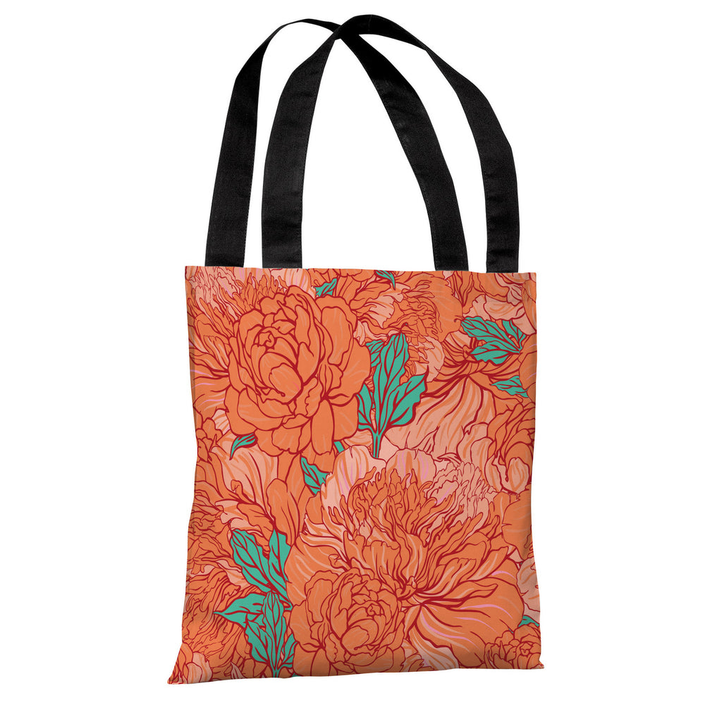 Abundant Florals - Coral Turquoise Tote Bag by OBC