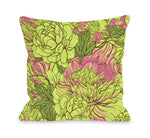 Abundant Florals - Green Pink Outdoor Throw Pillow by OBC