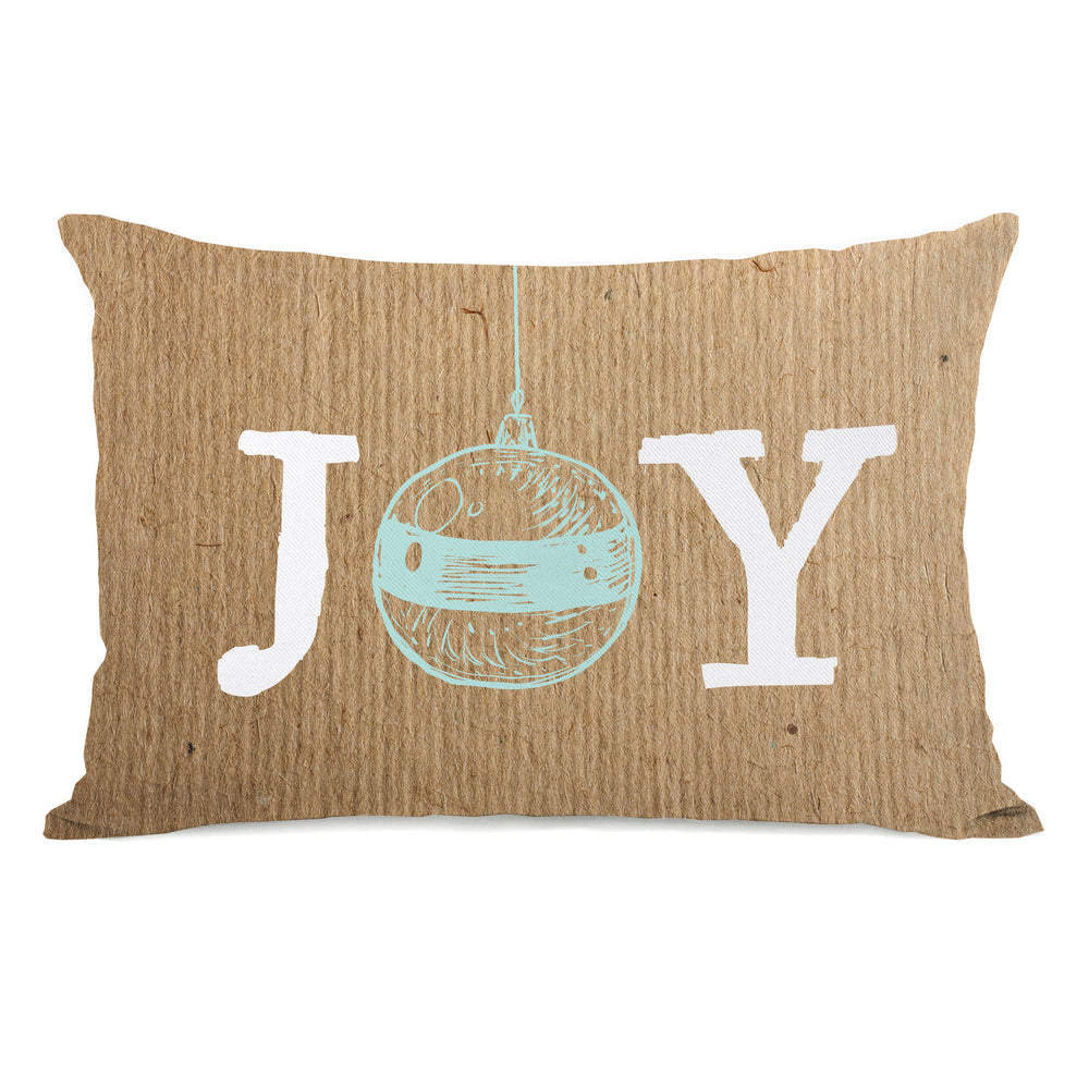 Joy Ornament Paper - Brown  Throw Pillow by OBC