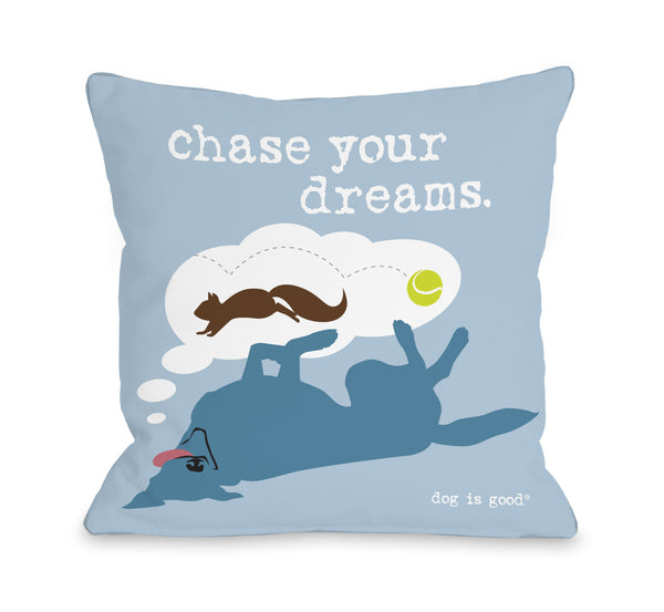 Chase Dreams Blue Throw Pillow by Dog Is Good