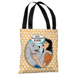 Best Relationship Ever Popart - Peach White Tote Bag by Dog is Good